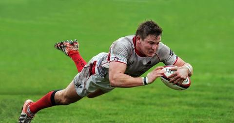 Try-time: Bromsgrove hooker George Glenn dives over to score at Caldy. Picture: PETE JEPSON.