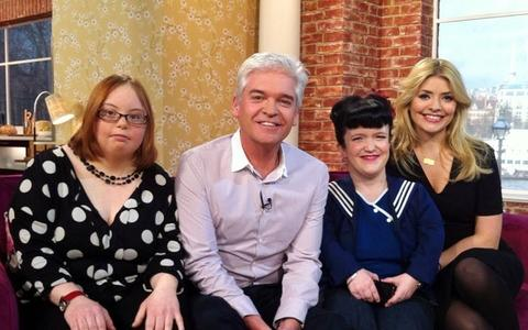 Kate with Phillip Schofield and Holly Willoughby and fellow show participant Sam.