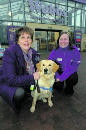 Catrin Rod, fundraiser from Guide Dogs, and Alison Nuttall, from the Redditch and Bromsgrove branch, and guide dog Abbey.