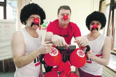 Gary Colley, Keith Cunningham and Fraser Carson help raise cash at BMI Droitwich Hospital.