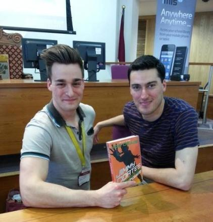 Author Joe Craig with Droitwich Library customer advisor Michael Delicate.