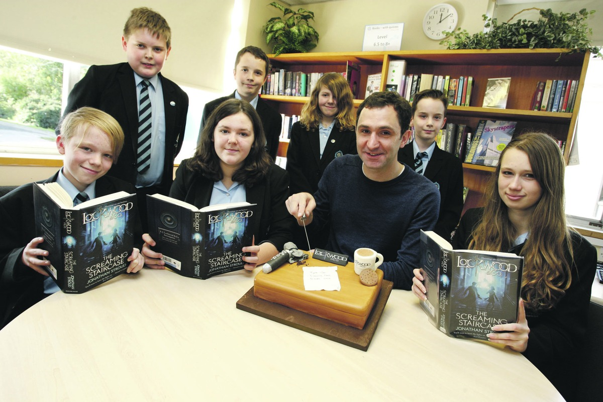 Author Jonathan Stroud meets pupils at Droitwich Spa High School.