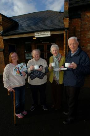 Ref: BMM021401a Droitwich Spa's Area Forum for older peolpe have a new venue: Members (L) Joanne Clarke, John Lee, Jo Moore and Stan Moore outside the new venue they use for coffee morings (3303525)