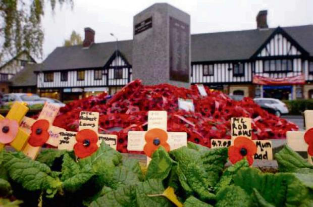Wreaths laid at Droitwich Spa's war memorial in Victoria Square last year.