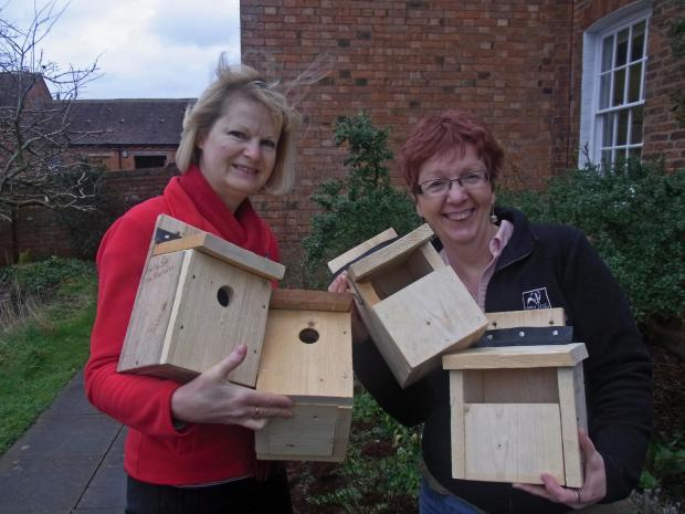 Julie Allen  and Anne Williams with some of the bird boxes.