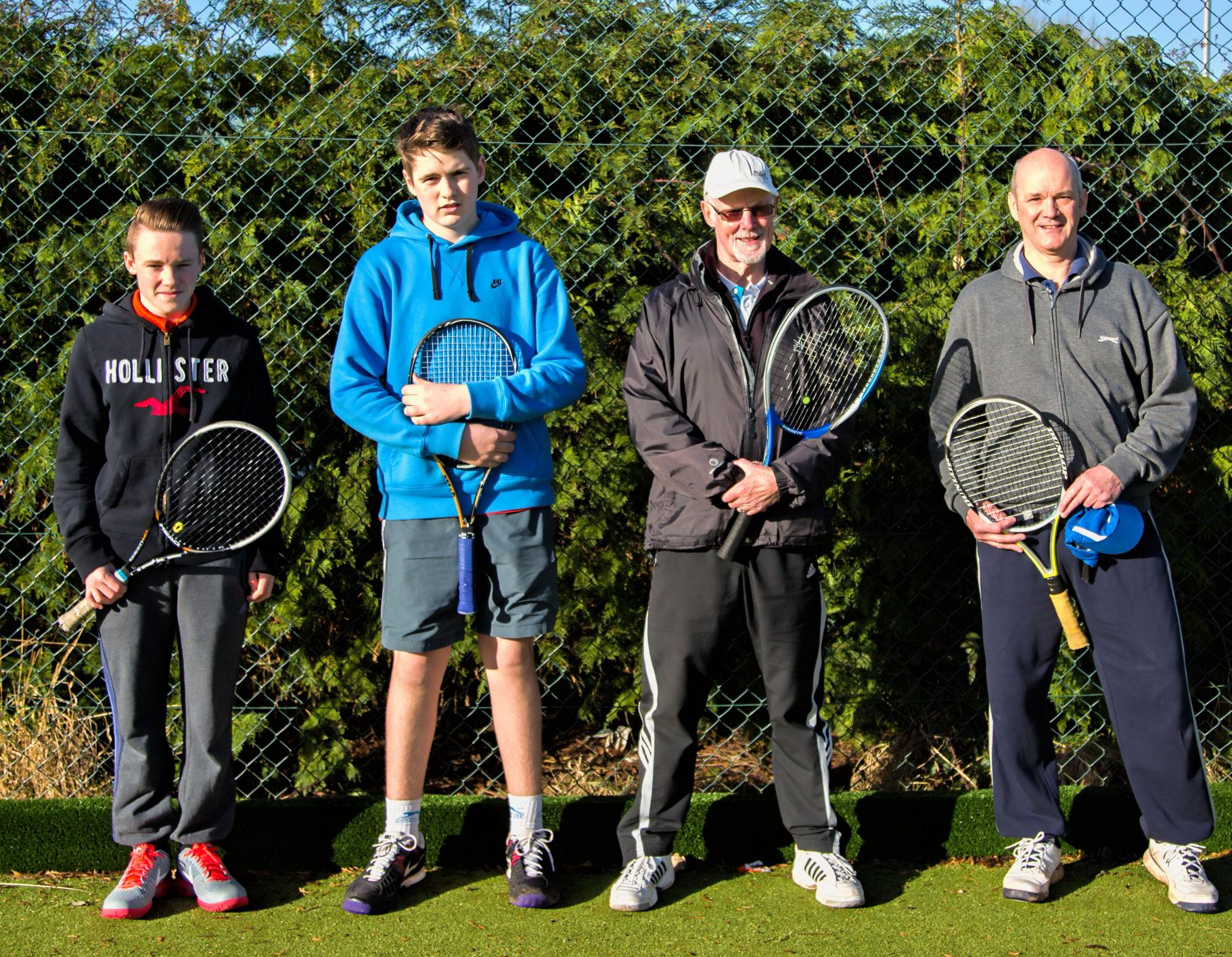 Bromsgrove Men's F team of Aaron Oakes, Ollie Stratford, Stuart Roney and captain Paul Jubb.