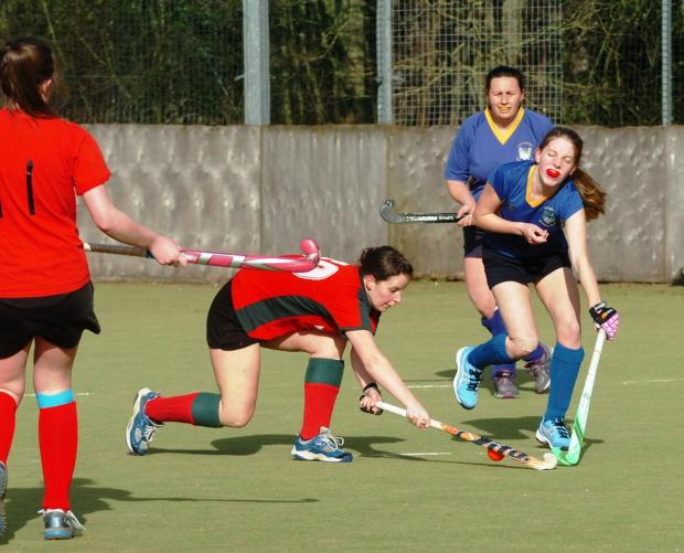 Droitwich Advertiser: Action from Bromsgrove Ladies 8-0 win over Stourport. Picture: MARIE MYERS
