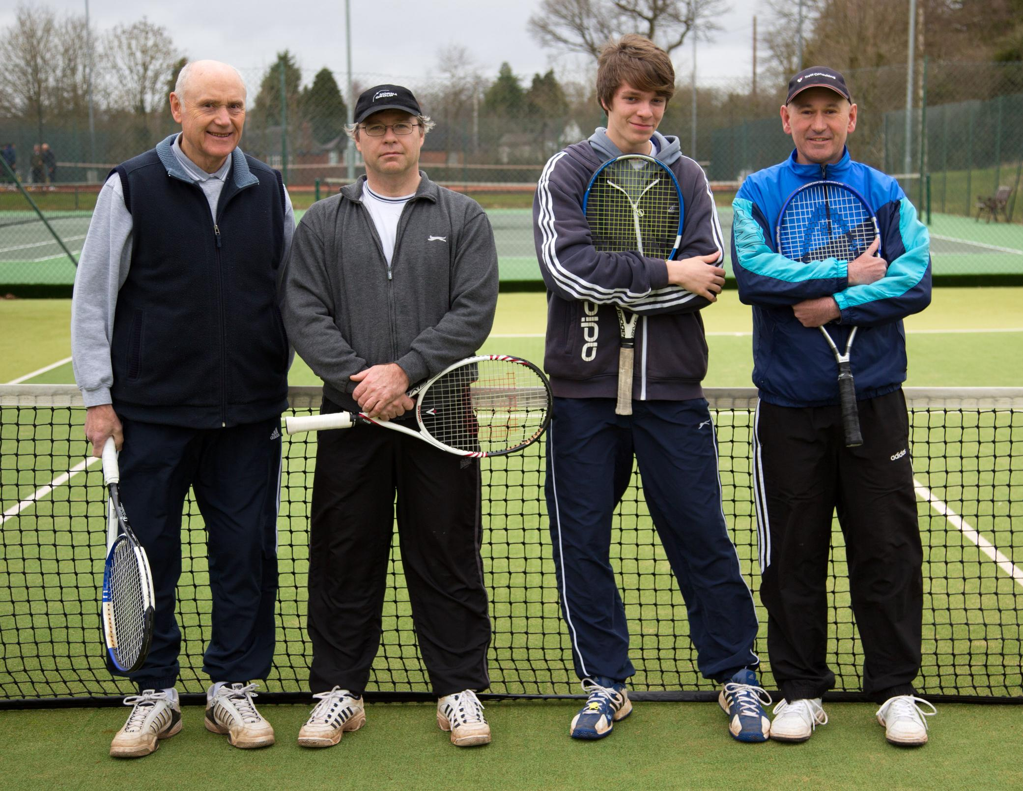 Bromsgrove Tennis Club's Men's E team of Brian Barton,Chris Hands, Jack Walters and Tim Roland.