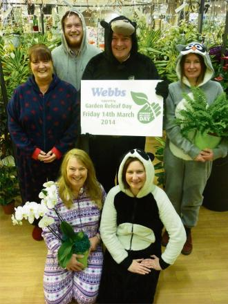 Webbs staff wear their onesies for charity: (back from left) June Partridge, Lewis Jones, Ed Webb, and Karen Howarth (front) Debbie Bell and Jacqui Sheard. SP