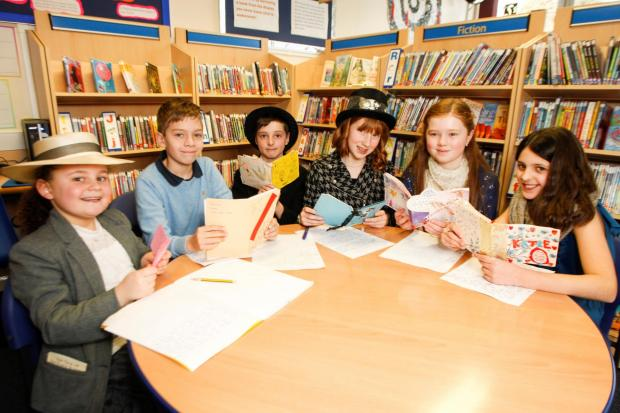 Children at Witton Middle School wore hats related to their favourite books for World Book Day: (from left) Felicity Quiney, Joshua Hancock, Ollie Taylor, Merrin Dewson, Olivia Warburton, and Katie Sabel. Buy photo: BCR111403 at droitwichadvertiser.co.uk/
