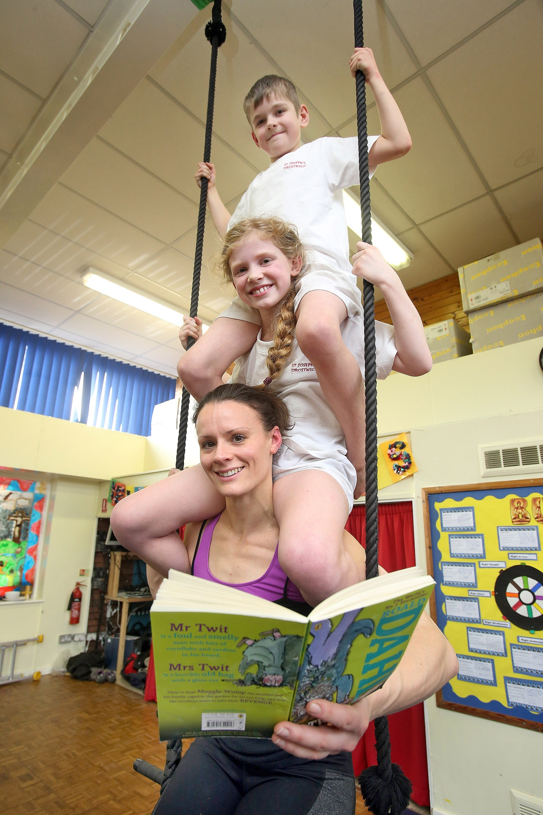 Hanging around with a book at St Joseph's Primary School
