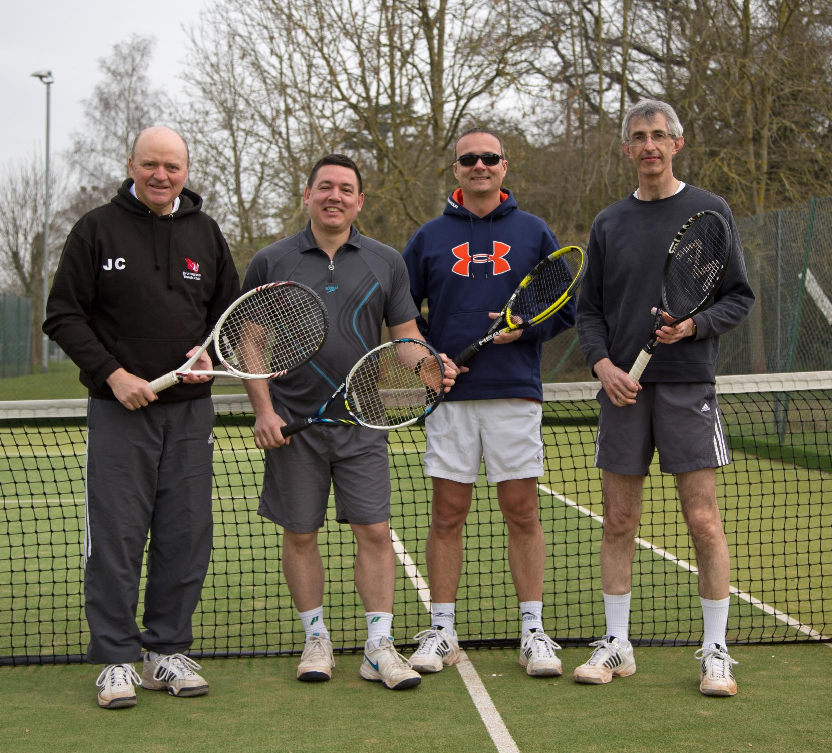 Bromsgrove Tennis Club's men's D team of John Casey, Alex Willis, Pete Morris and Mark Blake.