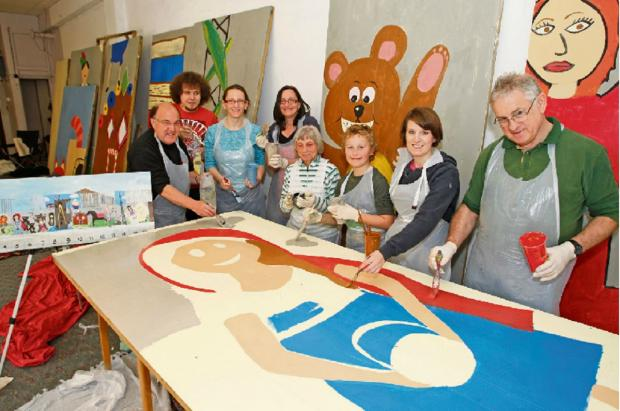 Members of the Droitwich Arts Network invited Spa artists to help create the giant mural, going on display as part of the St Richard's Festival. Buy this photo BCR161412_01