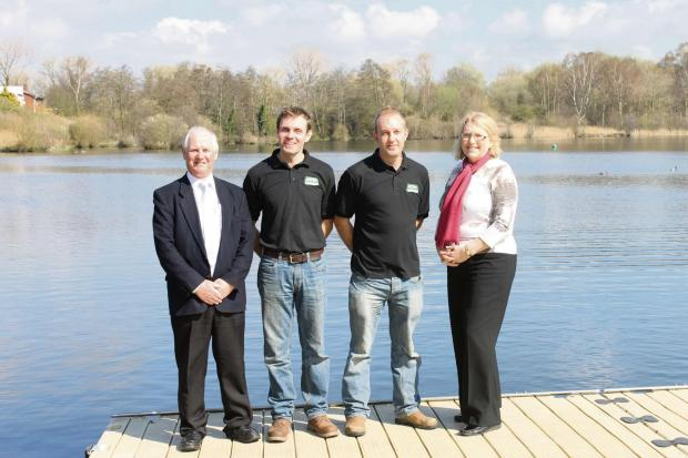 Upton Warren is handed over to new owners: (from left) Michael Howard, procurement manager for Worcestershire County Council, Mark Spence and Craig Spence from Aztec Watersports and Councillor Liz Eyre, cabinet member for Worcestershire County Council. SP