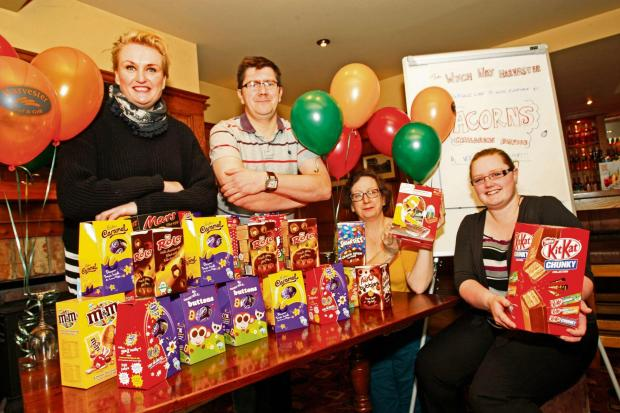 Staff from the Wych Way In with their collection of Easter eggs for Acorns Children's Hospice: (from left) Mandie Fitzgerald, community fundraiser for Acorns, Rob Bough, kitchen manager at the Wych Way, Carolyn Gibbs, sandwich chef at the Wych Way, an