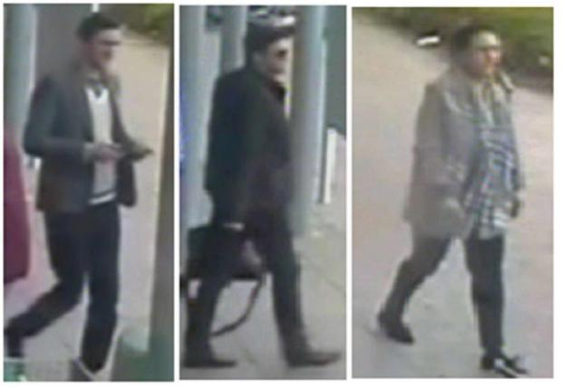 Droitwich Advertiser: The two men and a woman police want to trace in connection with the thefts. SP