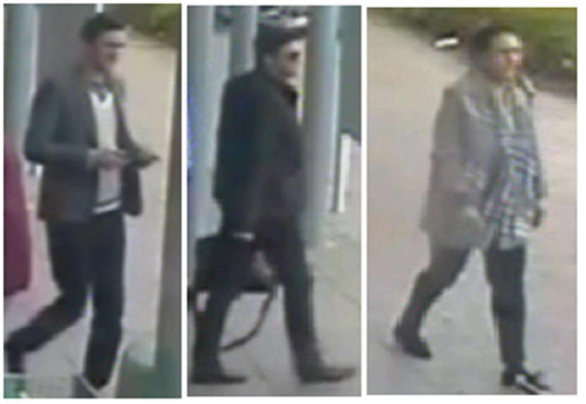 The two men and a woman police want to trace in connection with the thefts. SP