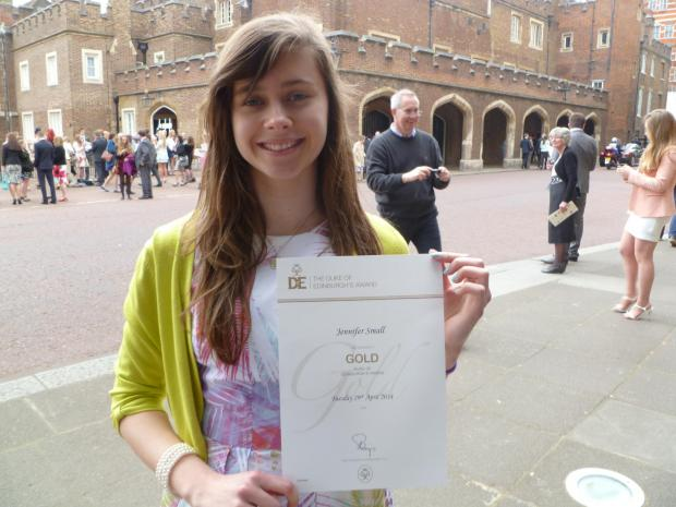 Jennifer Small with her award certificate at St James' Palace. SP