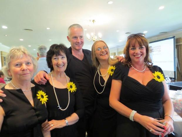 Droitwich Advertiser: Some of the Calendar Girls from the Norbury Theatre in Droitwich with writer Tim Firth.