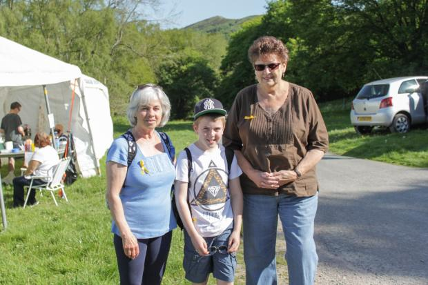 Sylvia Whittaker, Daniel Birch, and Eunice Williams from Droitwich, on their walk across the Malverns. SP
