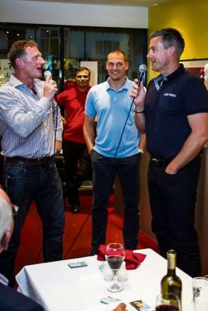 Dougie Brown, Darren Purse and Ashley Giles chat at the fundraiser. SP.