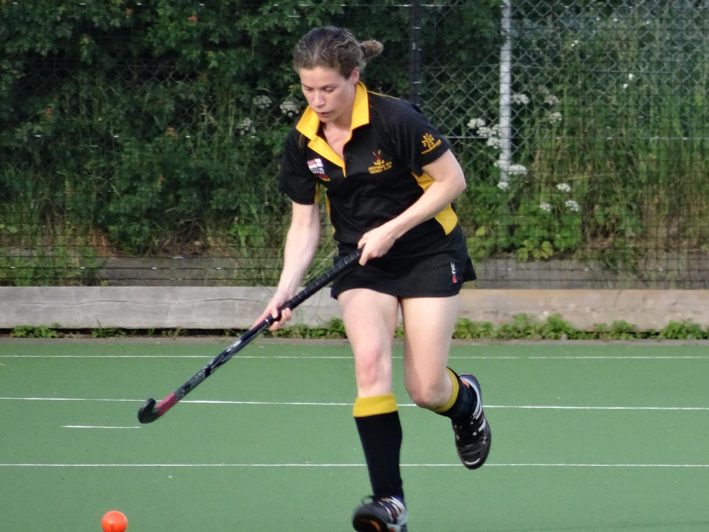 Jenny Gage in action for Droitwich Ladies against Bromsgrove B.