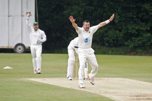 Droitwich Advertiser: A Barnt Green bowler celebrates a wicket against Himley. Pic: CRAIG ROSS