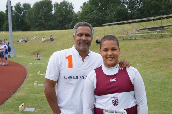 Going the distance: Nicolas Jakobsen with British Olympic legend Daley Thompson.