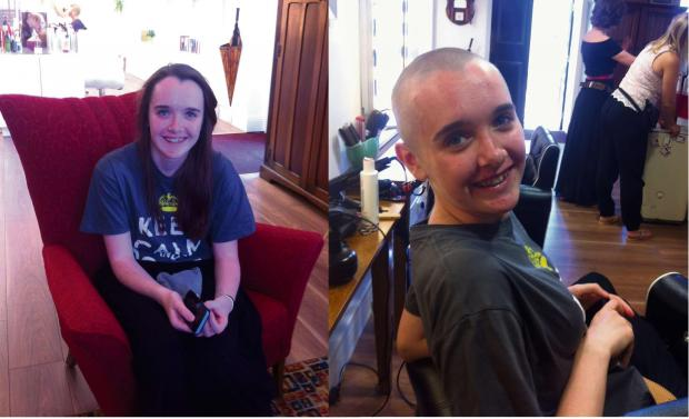 Amber, before and after having her head shaved. SP