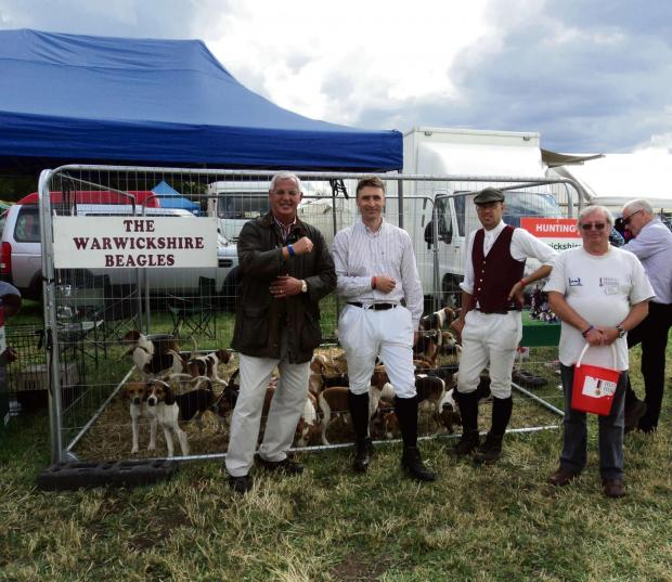 The Warwickshire Beagles. Ian Baldry Help for Heroes,Martin Weatherhead MH, joint master, Edward Law MH, joint master, Eric Stewart Help for Heroes (left to right).