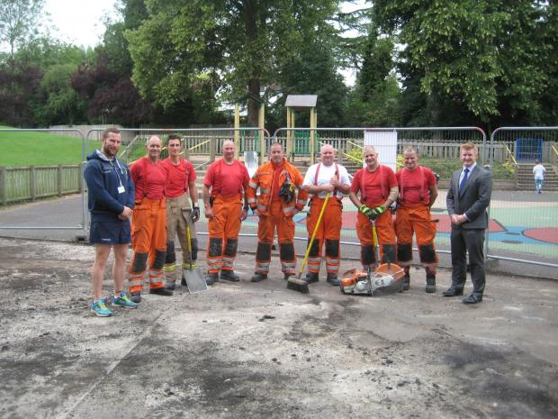Worcester Warriors HITZ officer Stuart Brooks (far left) and Matt Nicol of Nicol & Co Estate Agents (far right) with members of Hereford and Worcester Fire and Rescue Service at the playground. SP