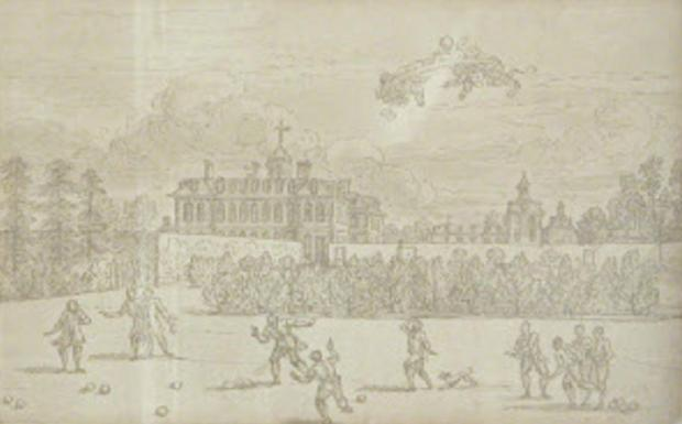A 1710 drawing by Sir James Thornhill of gentlemen playing bowls at Hanbury Hall. Image courtesy of National Trust. SP