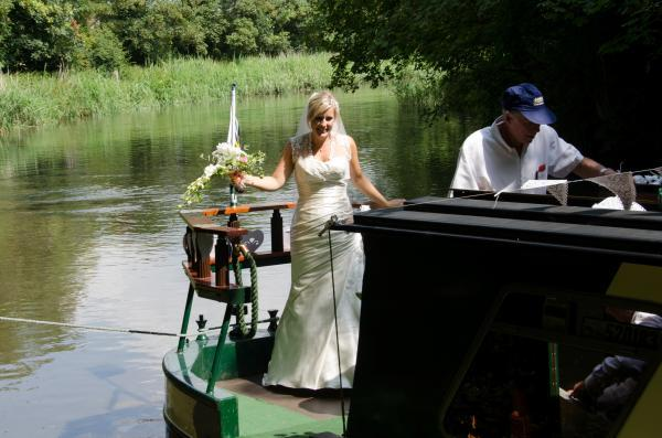 BRIDE ON A BOAT: Bride Deborah Harris enjoyed a memorable start to her wedding day on the Pamela May boat. SP