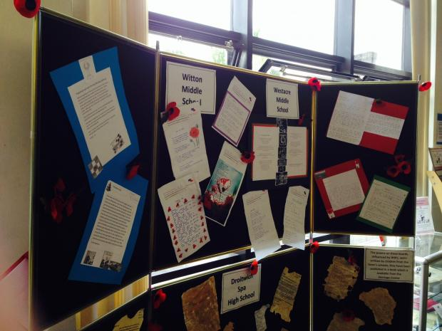 Some of the war poems which have been written by Droitwich school children. SP