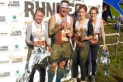 Sally Taylor, Rob Gidley, Amy Gidley and Gail Halkon after completing the Mud Run. SP