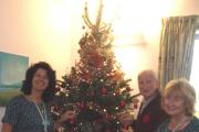 Colleen Gavney, Tim O'Grady and Ginney Pavey decorate the St Richard's day hospice Christmas tree. SP