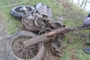 The motorbike pulled from the canal. Picture by Matthew Jenkins.