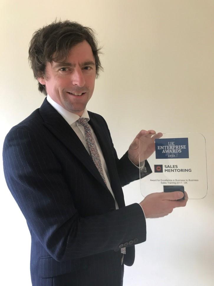 Daniel Cox, from Sales Mentoring Ltd, with his award.
