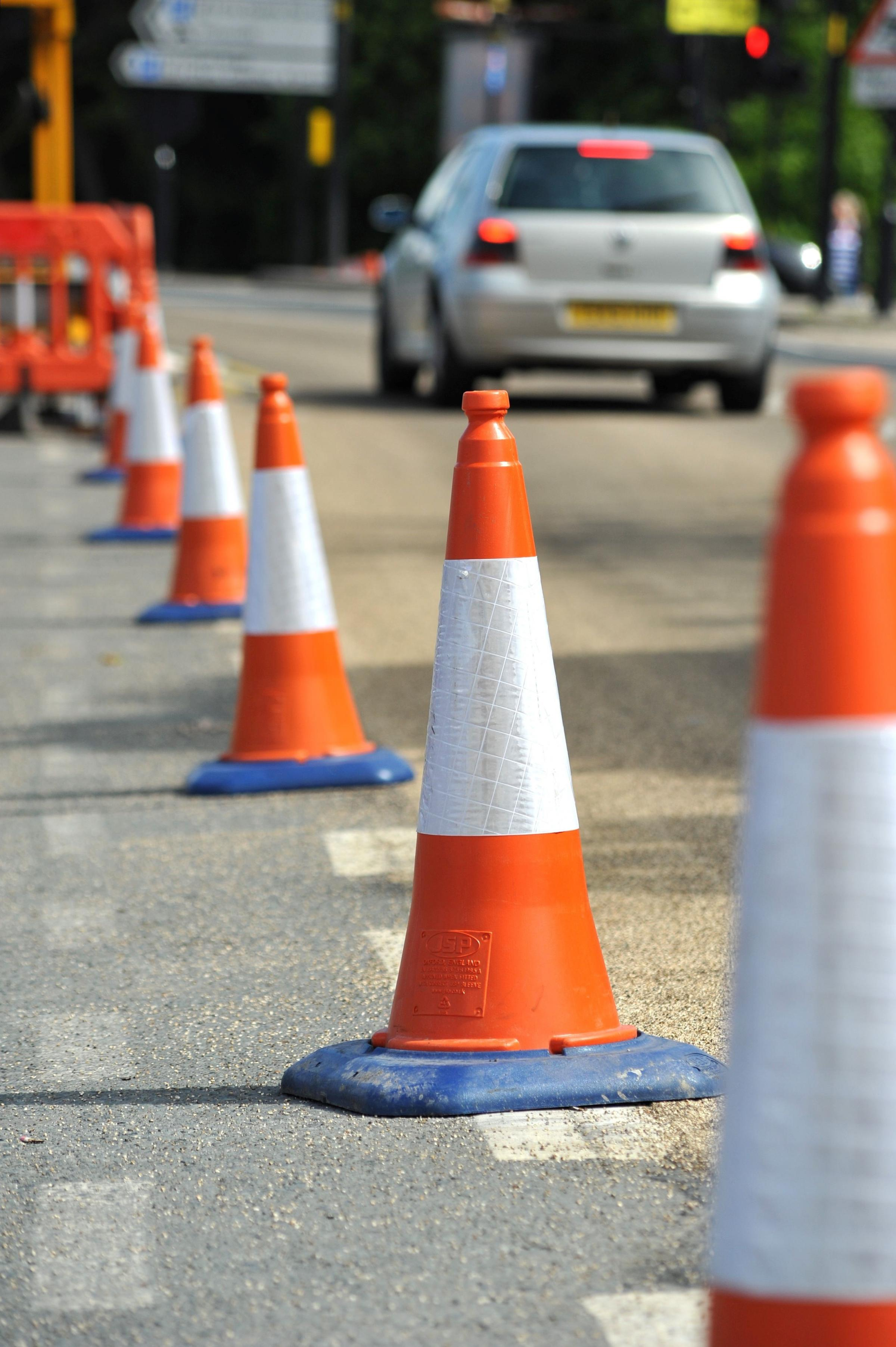 Stock photograph of traffic cones.