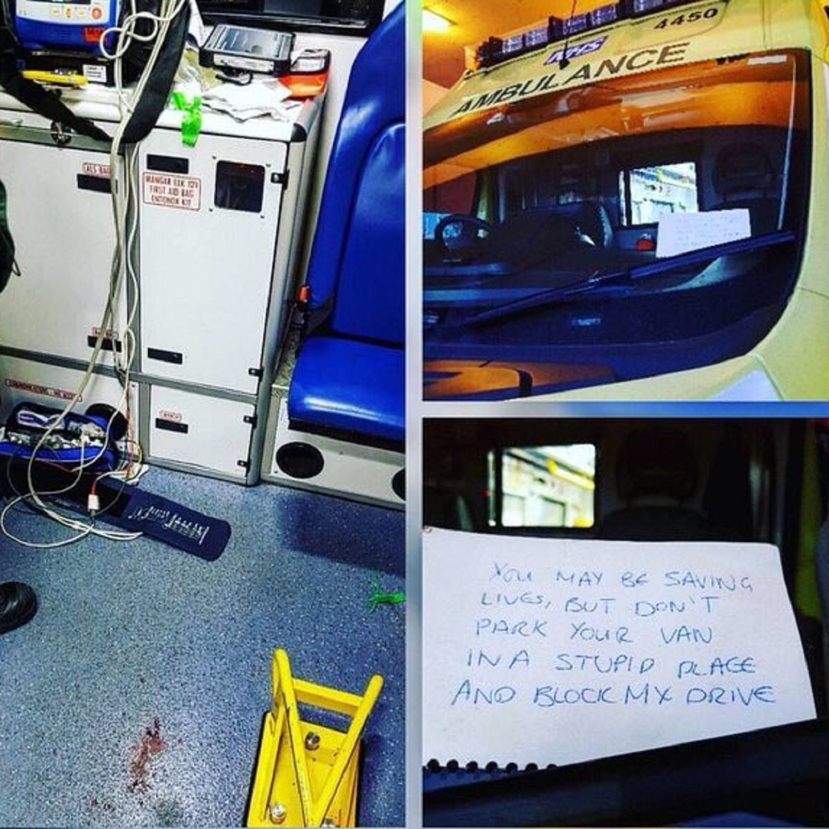 NOTE: The note left on an ambulance that attended an emergency patient.