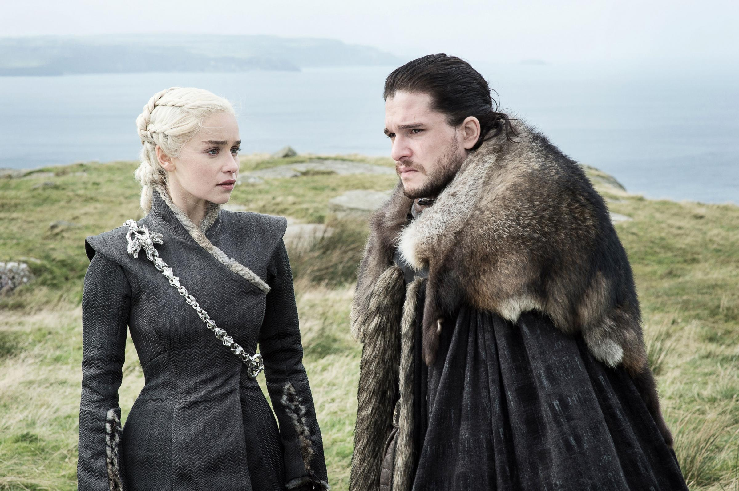 HEADLINES: Kit Harington as Jon Snow in Game of Thrones, pictured with co-star Emilia Clarke as Daenerys Targaryen. Picture: HBO/PA.
