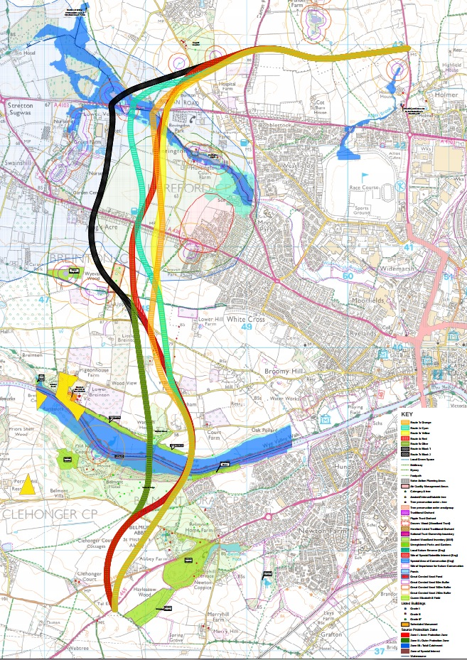 Detailed Hereford bypass map shows proximity to homes and abbey