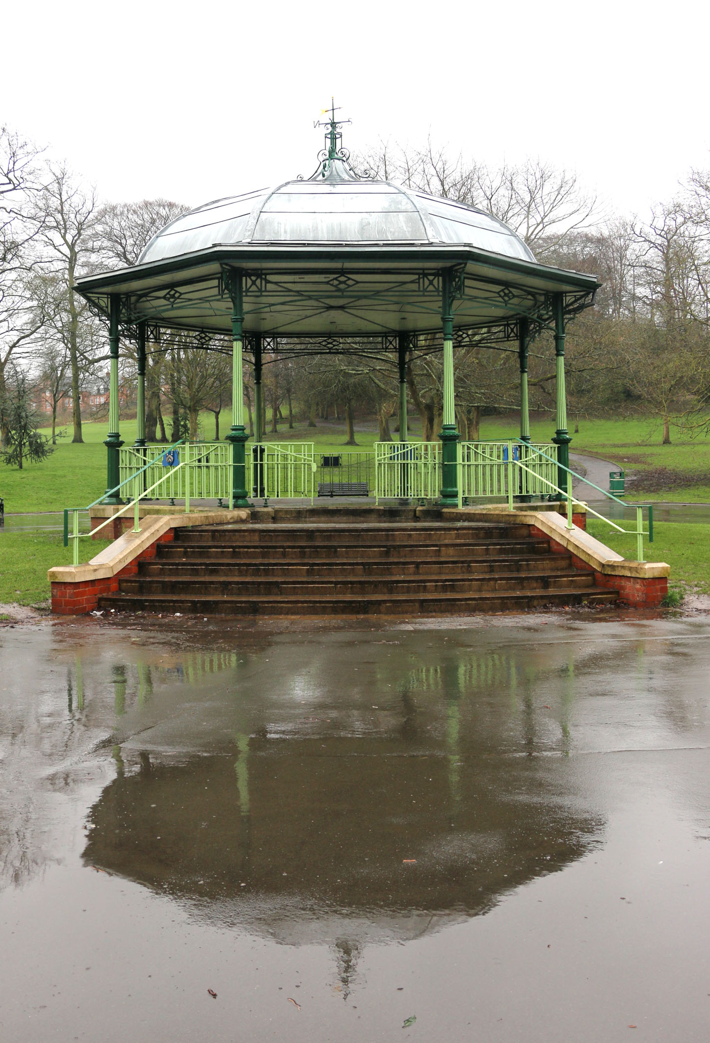 The bandstand in Mary Stevens Park in Stourbridge in the rain