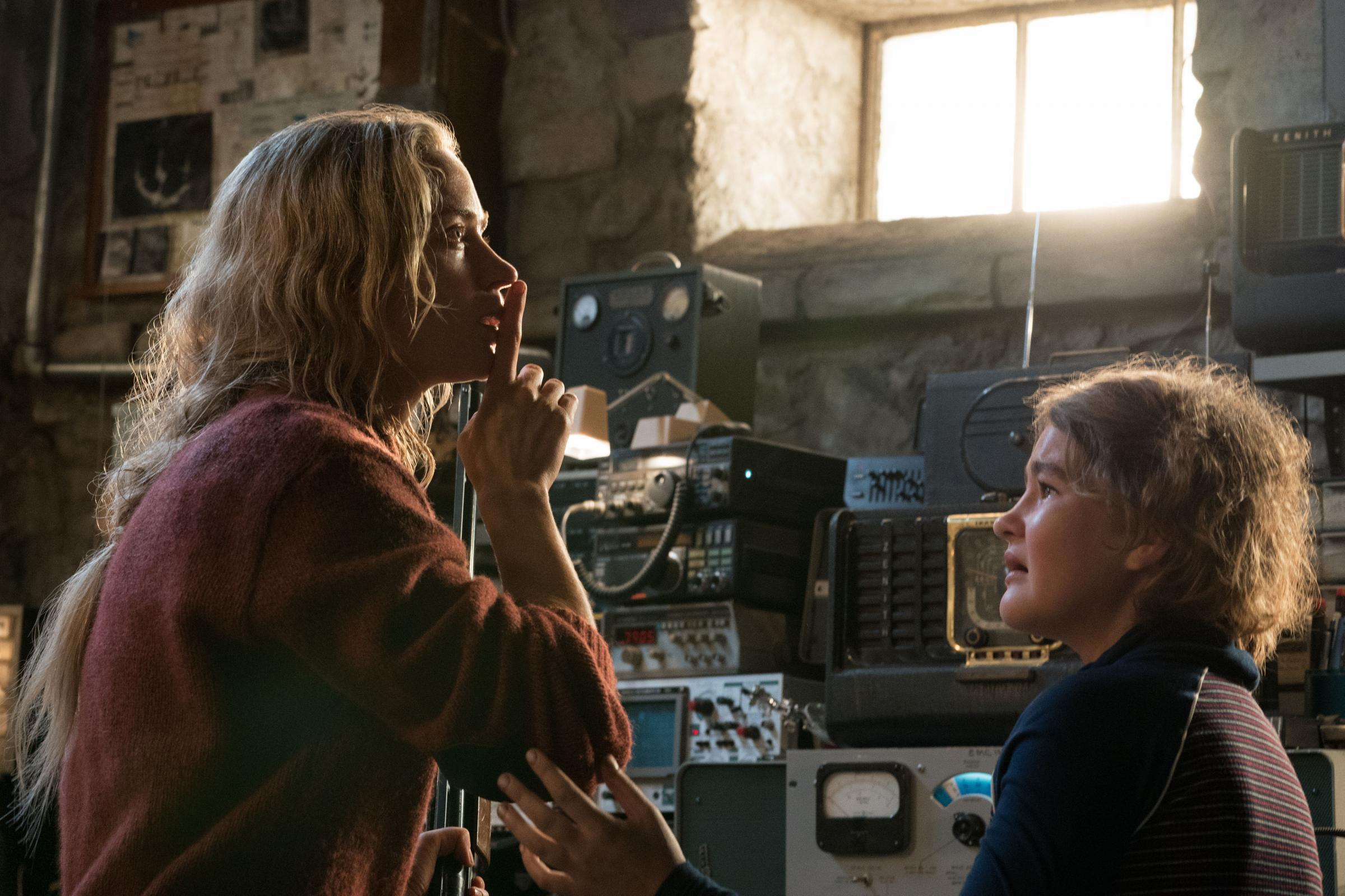 A Quiet Place. Pictured: Emily Blunt as Evelyn Abbott and Millicent Simmonds as Regan Abbott. Picture: PA Photo/Paramount Pictures/Jonny Cournoyer.