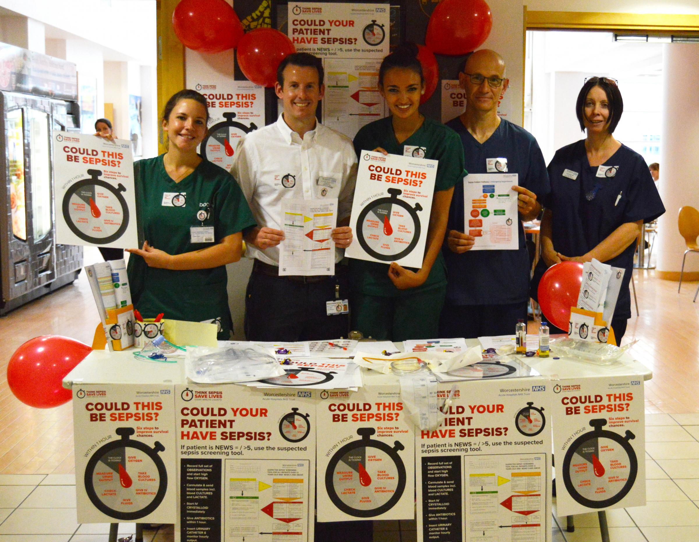 AWARENESS: Staff are able to find out more about sepsis from information stands. Picture: Worcestershire Royal Hospital Trust.