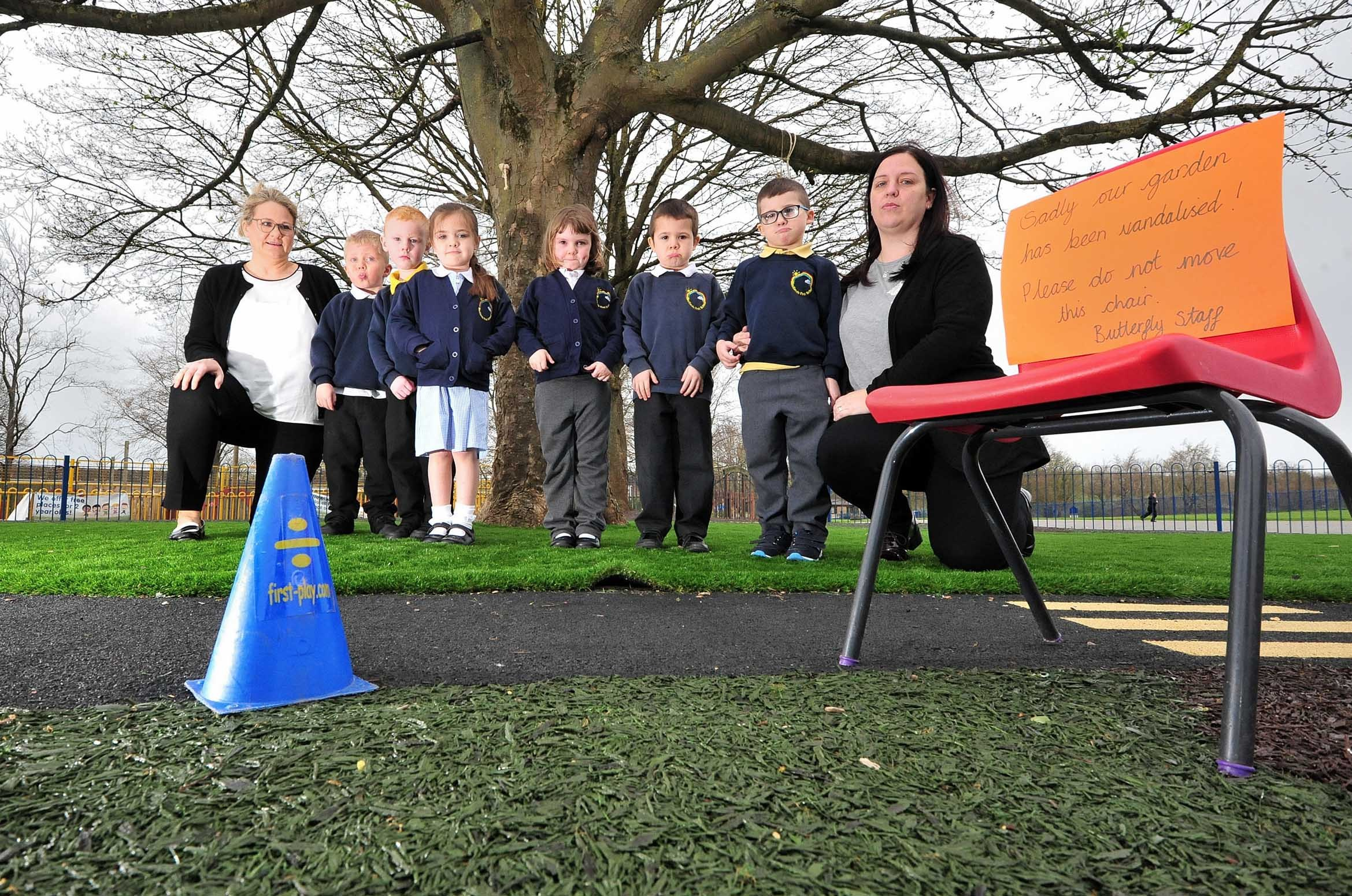 FED UP: Staff and students at Westlands First School were devastated after returning from the Easter break to find their playground had been vandalised.