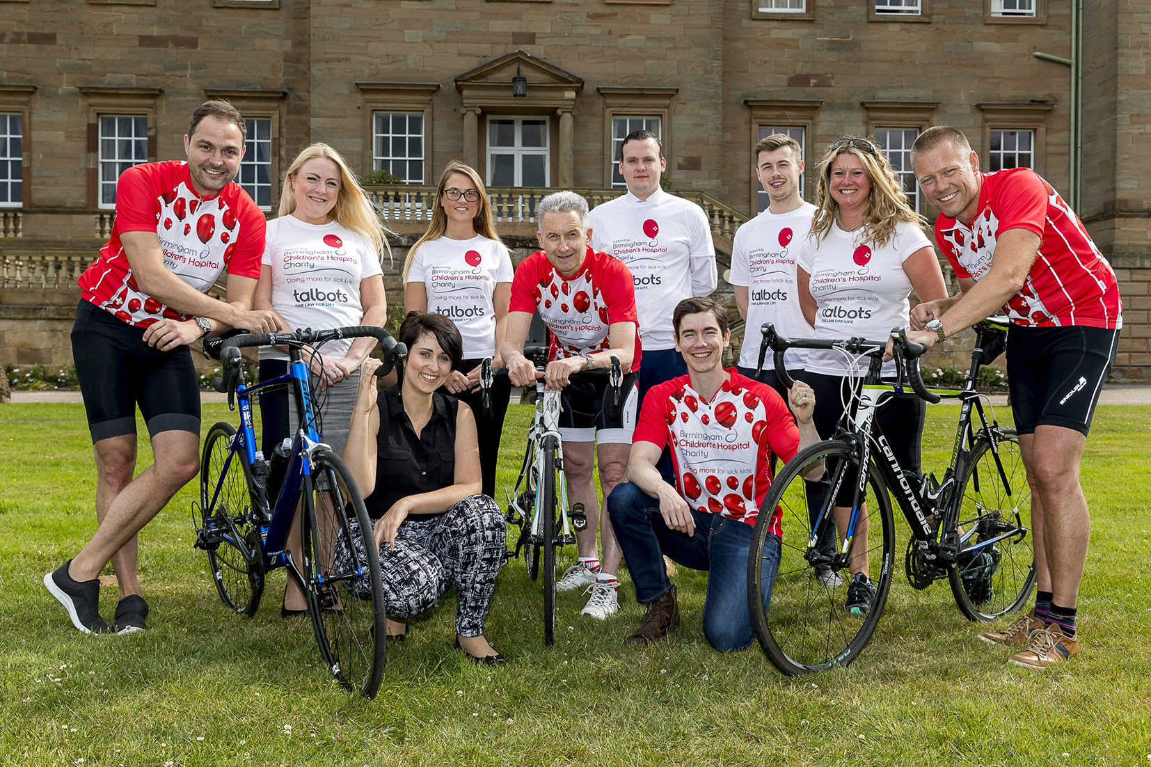 Talbots Law Callum Haynes, Sarah Rooney, Sara Jones, Peter Hill, Adam Howell, Chris Jones, Rachel Pardoe and Matt Wistow, with Kirsty White and James Lunney, of Birmingham Children's Hospital, front. Photo: Jonathan Hipkiss