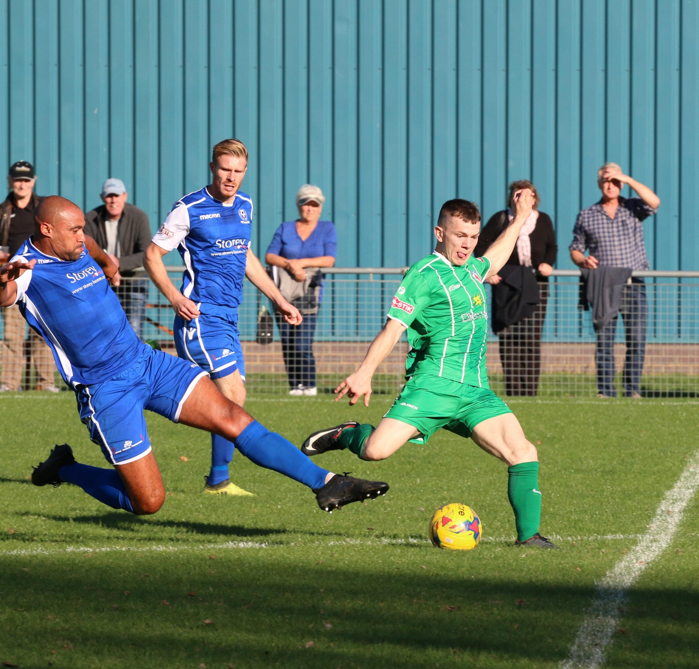 Jason Cowley in action against Bedford. Photo: David Besley