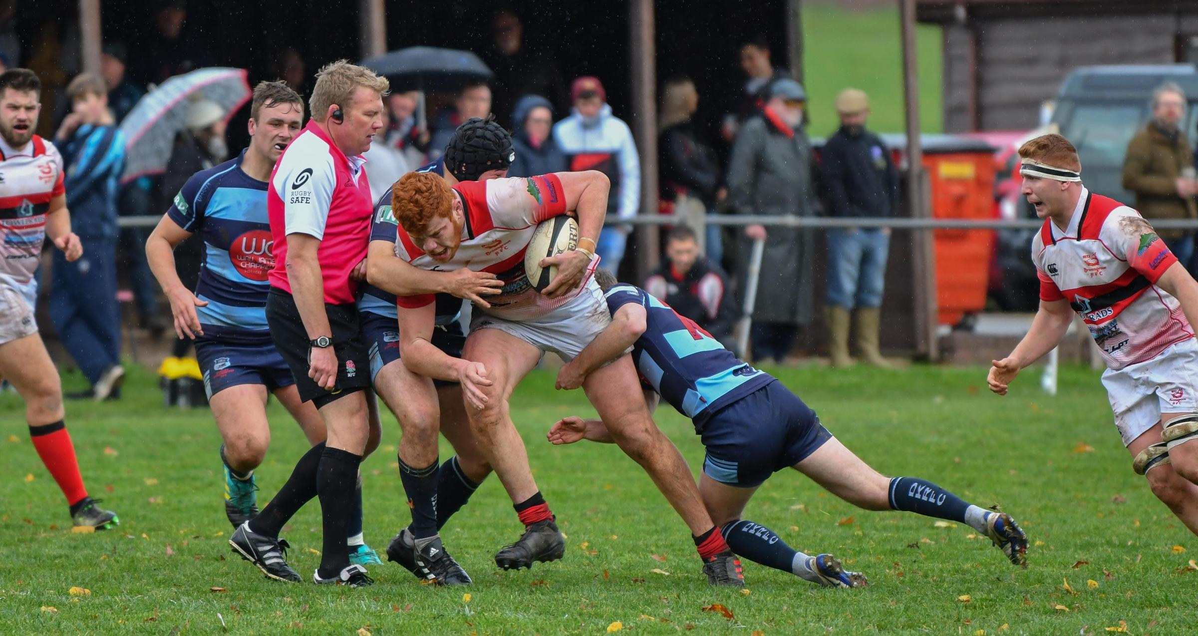 No way through for Bromsgrove's Sam Knott  against DK. Picture: Andy Jepson