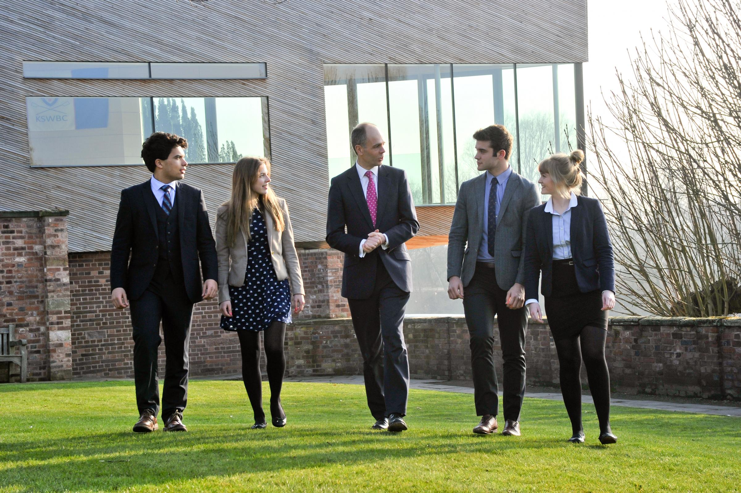 The King's School Worcester headmaster Matthew Armstrong with pupils